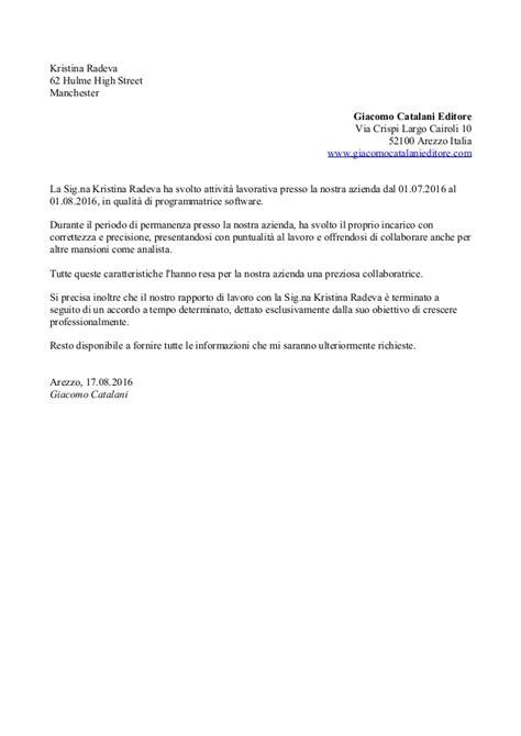 Esempi Lettere Di Referenze by Lettera Di Raccomandazione 3