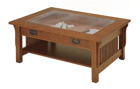 amish lancaster mission glass top display coffee table