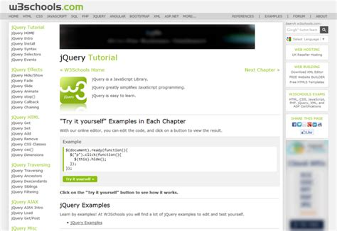 jquery tutorial in w3schools top 7 websites to learn jquery blogolect