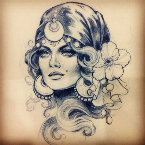 gypsy head tattoo designs suche