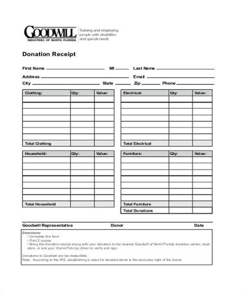 goodwill charitable donation receipt template goodwill receipt images