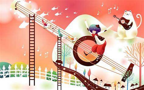 cat guitar wallpaper cartoon wonderland illustration autumn scene playing