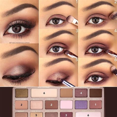 eyeshadow tutorial using too faced 1 with a dense shader brush apply amaretto to the lid