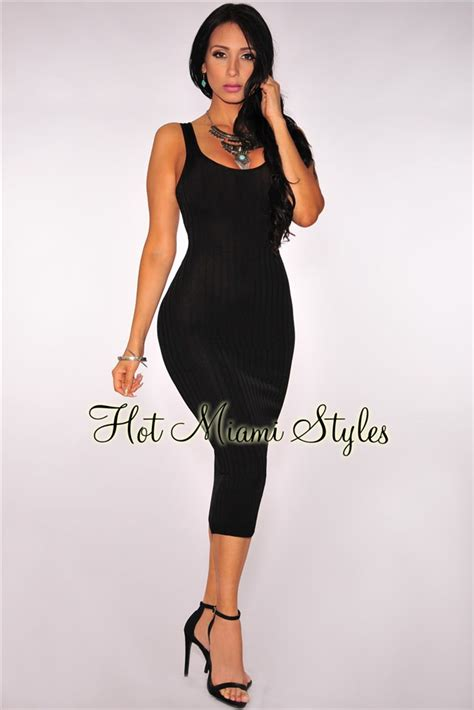 Ribbed Knit Tank Dress black ribbed knit tank dress