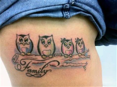 tattoo de una familia de buhos tatuajes de letras