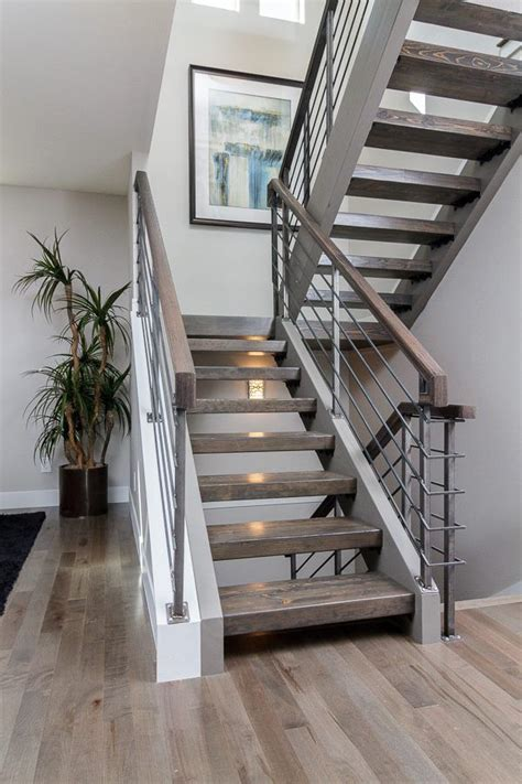 Floating Stairs Design Custom Floating Stair With Hardwood Treads And A Metal Rail What A Dramatic Way To Make A