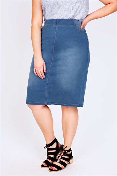 mid blue denim pull on midi pencil skirt plus size 16 to 28