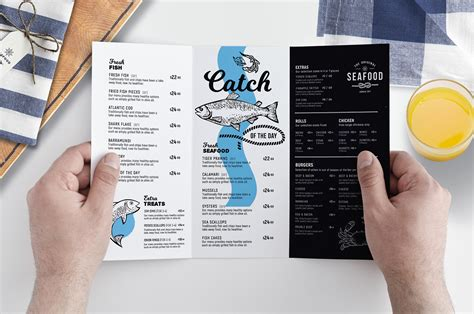 tri fold seafood menu template in psd ai vector