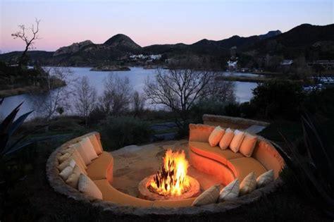 outdoor built  rock seating  fire pit lake sherwood