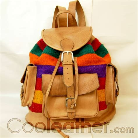 colorful backpacks mymate4 backpack colorful wool and beige leather