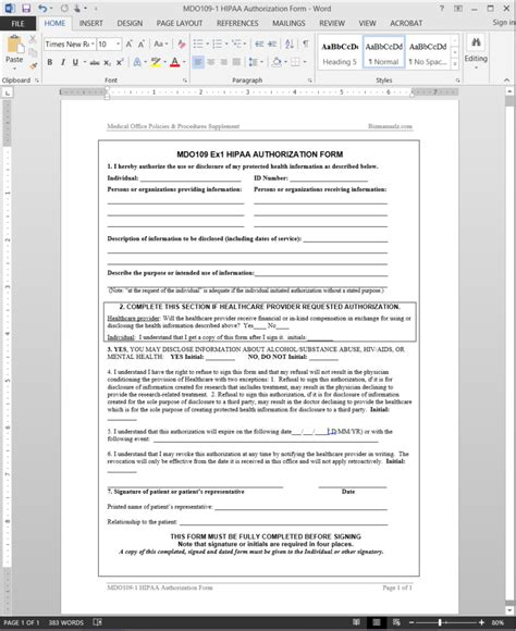 Hipaa Authorization Form Template Mdo109 1 Hipaa Notice Of Privacy Practices Template 2015