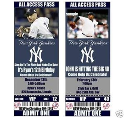 printable yankee tickets new york yankees birthday party invitations 20 tickets