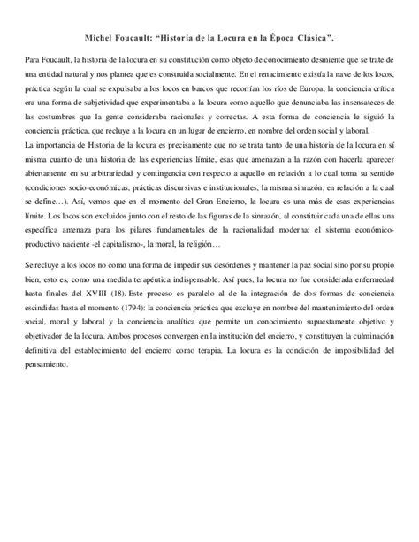 La Locura Vallenata Inicio Michel Foucault Historia De La Locura En La 201 Poca Cl 225 Sica Resumen