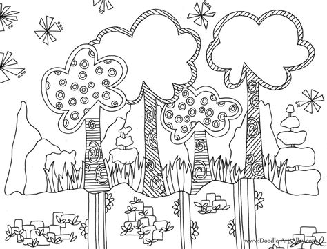 doodle drawings printable nature coloring pages doodle alley