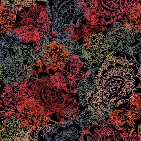 sfondo di fiori sfondo con sagome di fiori e farfalle scaricare vettori