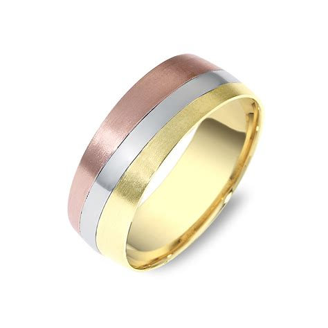Tri Color Gold Wedding Band   Timeless Wedding Bands