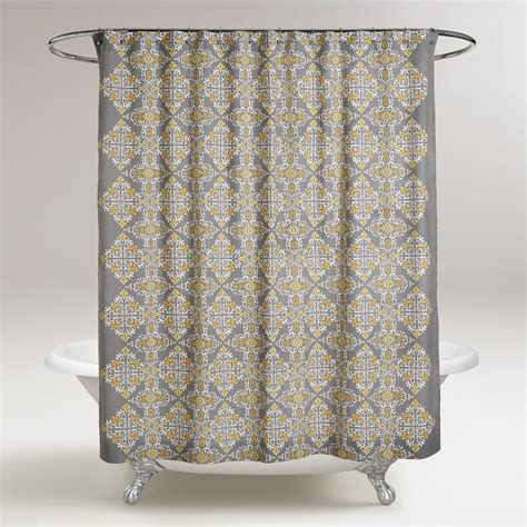 gray and yellow shower curtain gray and yellow navya medallion shower curtain world market