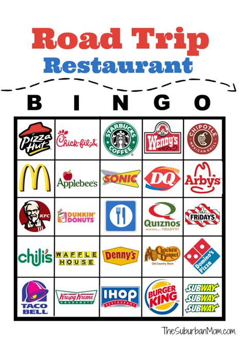 printable road trip bingo road trip restaurant bingo free printable the suburban