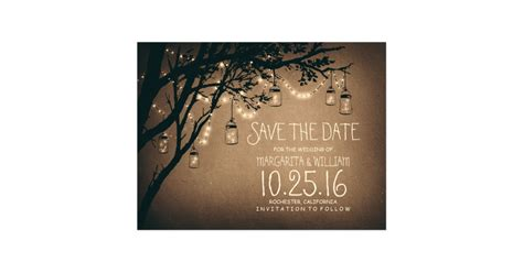 free save the date business card templates rustic country lights jars save the date postcard