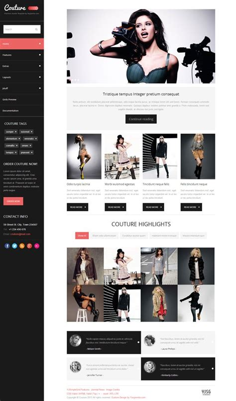 joomla article design layout couture joomla fashion and style magazine template