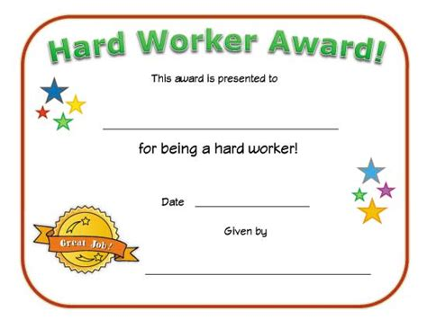 Hard Worker Award Certificate   All Kids Network