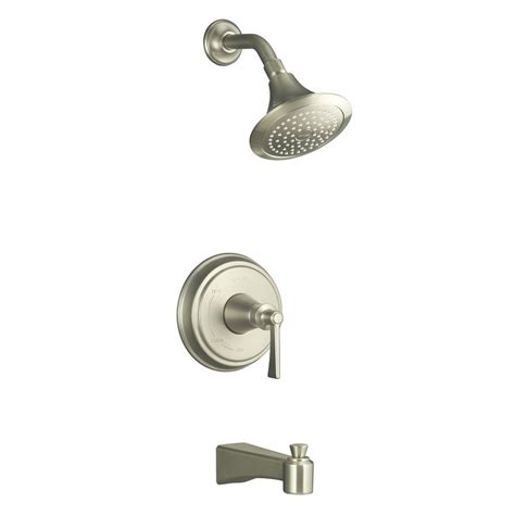 Kohler Bathroom Shower Faucets Kohler Archer 1 Handle Tub And Shower Faucet Trim Kit In Vibrant Brushed Nickel Valve Not