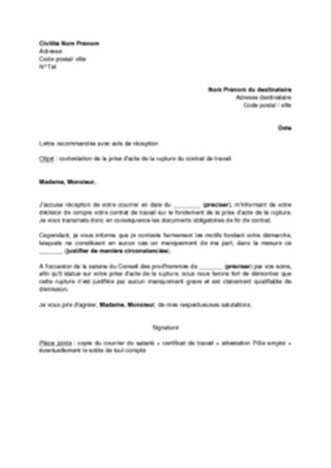Modèles De Lettre De Rupture De Contrat De Travail Exemple Gratuit De Lettre Contestation Par Employeur Prise Acte Rupture Contrat Travail Salari 233