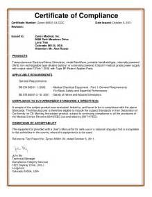 Certification Letter Of Compliance Certificate Of Compliance Template Playbestonlinegames