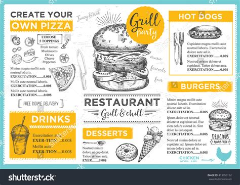 Menu Placemat Food Restaurant Brochure Menu Template Design Vintage Creative Dinner Template Placemat Menu Templates