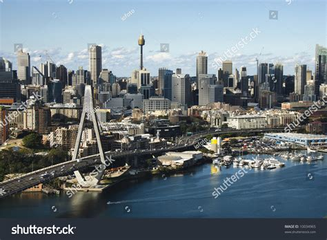 Sydney Australia Search Aerial View Of Anzac Bridge And Downtown Buildings In Sydney Australia Stock Photo