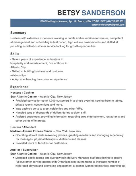 Hospitality Resume by Functional Resume Help
