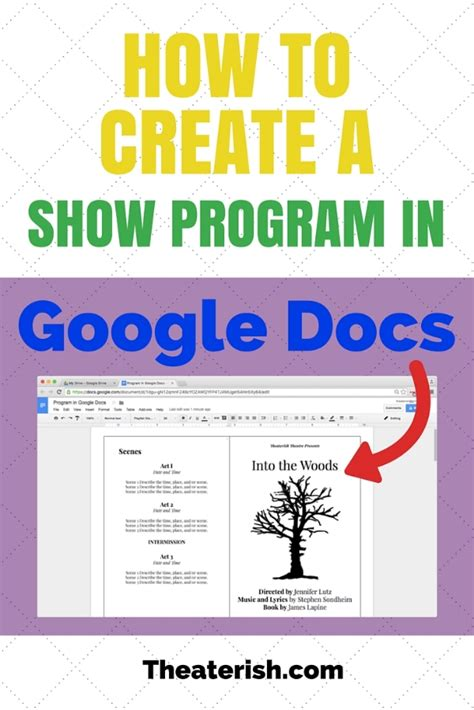 How To Create A Show Program In Google Docs Theaterish Theatre Program Template