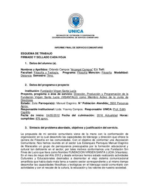 Carta De Culminacion De Servicio Comunitario informe de servicio comunitario pdf