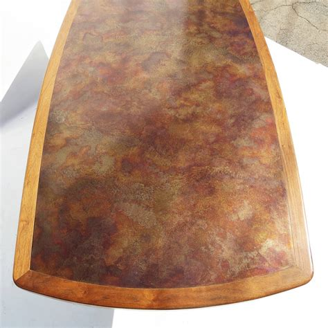walnut bronze and acid etched copper dining table by walnut bronze and acid etched copper dining table by