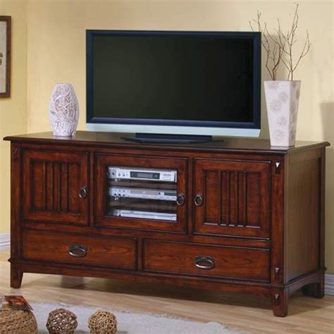 tv stands mission style media console  doors