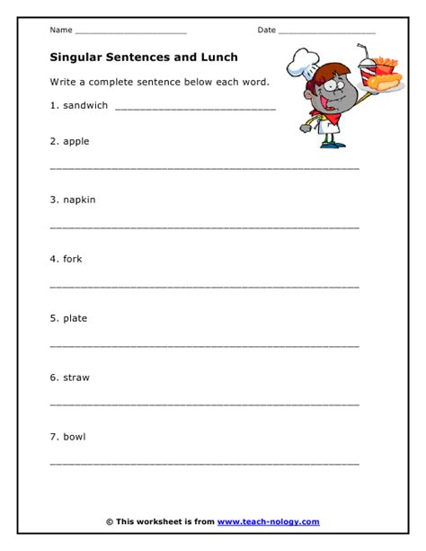 Writing Complete Sentences Worksheets by Writing Singular Sentences About Lunch