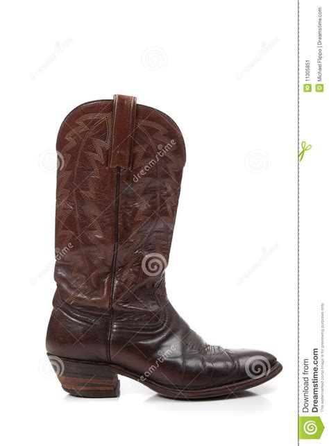 brown leather cowboy boots on white stock image image
