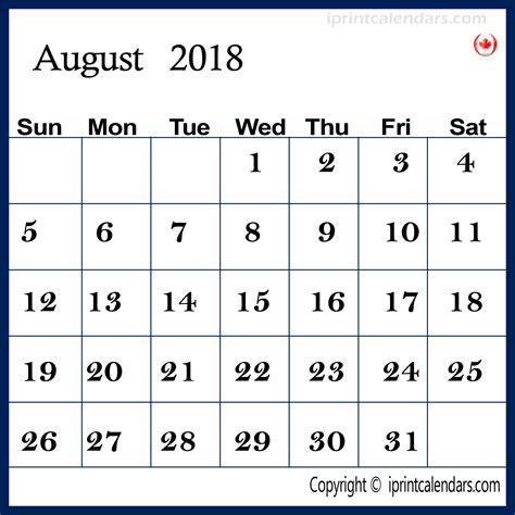 Calendar 2018 Canada Excel August 2018 Calendar Canada Calendar Template Excel