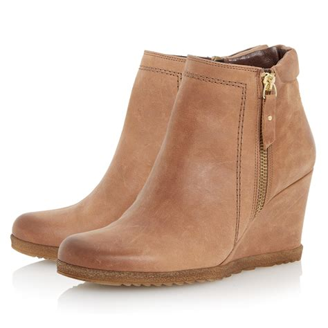 Wedge Boots dune pacino side zip wedge ankle boots in brown lyst