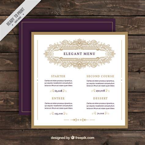 elegant menu restaurant template vector free download