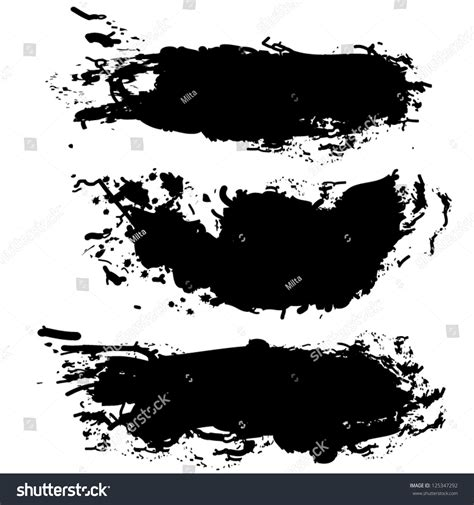 collection of paint splash vector set of brush strokes isolated on white background grunge