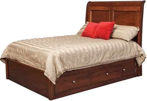 amish bedroom sets 32 classic queen sleigh pedestal bed w 60 quot wide side drawers