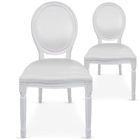 Chaise Medaillon Blanche by Chaises M 233 Daillon Bois Blanc Assise Simili Blanc
