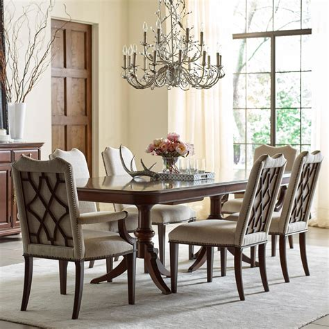 Dining Sets With Upholstered Chairs Furniture Hadleigh Seven Formal Dining Set With Upholstered Chairs Olinde S