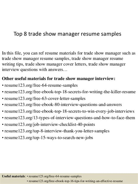 top 8 trade show manager resume sles