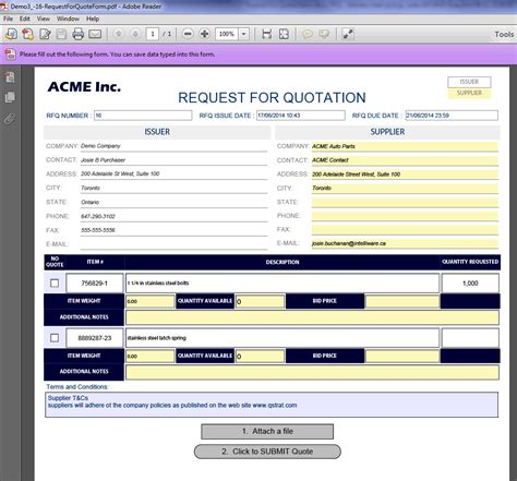 rfq form template compare rfq responses with ease using quotecube