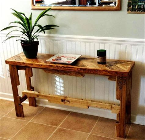 Diy Pallet Chevron Sofa Side Table 101 Pallets Pallet Sofa Table