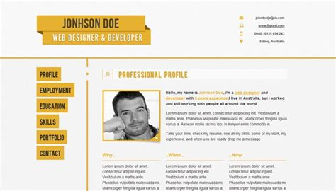 Free Resume Website Template by 20 Creative Resume Website Templates To Improve Your Presence