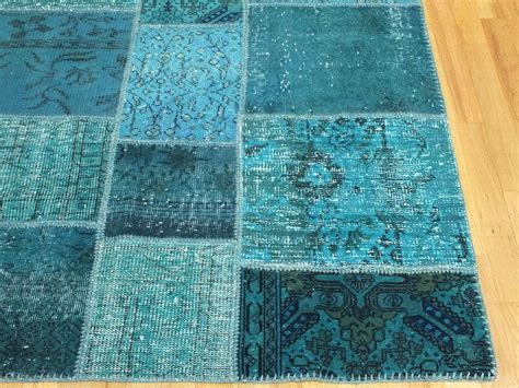 Overdyed Patchwork Rug - rugsville overdyed patchwork teal wool 17023 rug