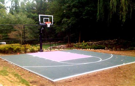 Half Court Basketball Dimensions For A Backyard by Backyard Basketball Court Layout Tips And Dimensions